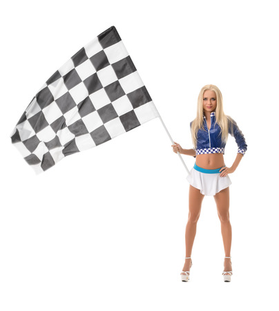Studio photo of pretty blonde posing with checkered flag Stock Photo