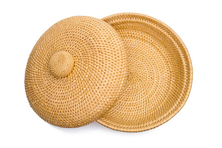 basketry: Basketry. Top view of wicker basket with lid, isolated on white Stock Photo