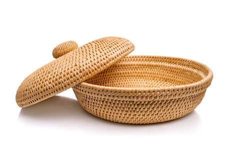 Wicker basket with lid, isolated on white background