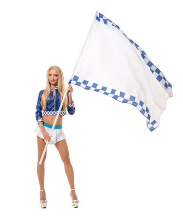 comely: Photo of comely blonde posing with racing flag. Isolated on white