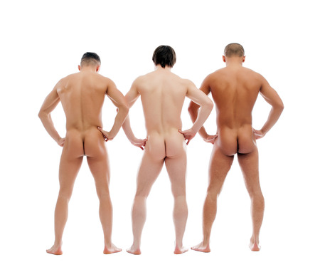 Three muscular naked men posing back to camera, isolated on white