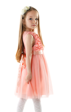 children clothing: Charming little girl in pink dress and rim of flowers, isolated on white