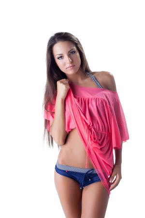 Beautiful girl posing in comfortable beachwear, close-up photo
