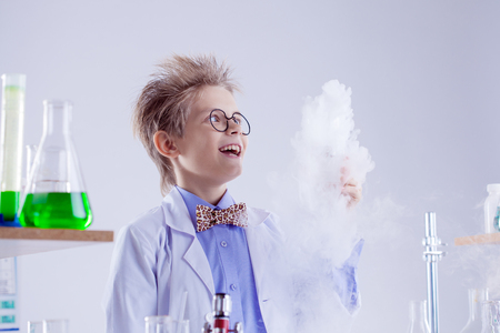 experimenter: Funny boy watching reagent evaporation during experiment