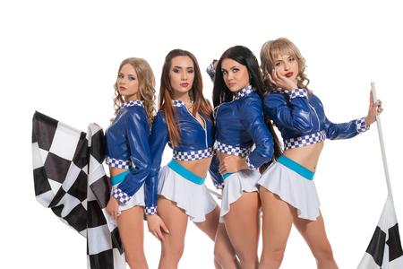 Sexy girls in   race jacket keeping flag Stock fotó