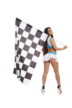 Woman with checkered race flag isolated on white Stock Photo