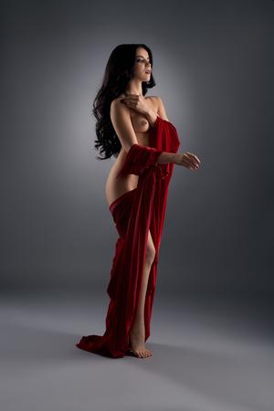 mujeres eroticas: De pelo largo hermosa morena en topless en el estudio Foto de archivo