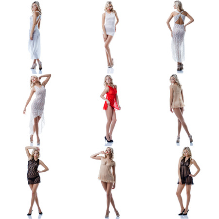 broche de presión Modelo - mujer atractiva en ropa interior en blanco photo