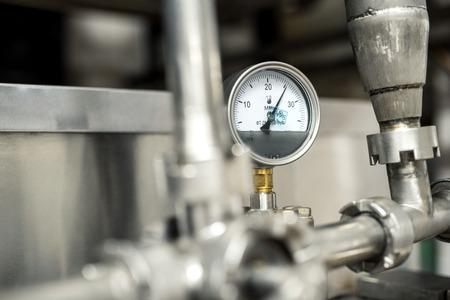 preassure: View of preassure indicator at milk factory Stock Photo