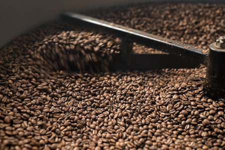 shef: Mixing device of coffee bean roaster at work