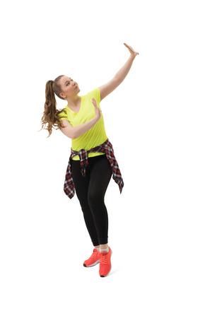 simulators: Sexy girl doing sports exercises in studio