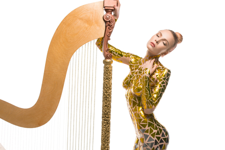 Sexy girl view with a luxurious musical harp
