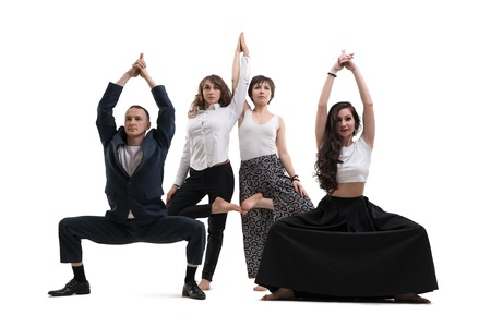 People in office clothes doing yoga isolated Stock fotó