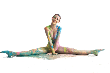 Nude woman her body covered with color shot Stock Photo - 108998055