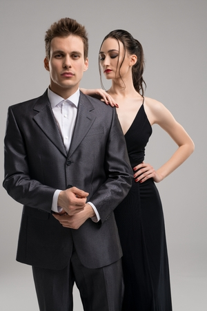 Sexy young couple in eveing clothes shot Stockfoto