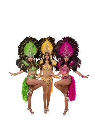 Girls in Brazil carnival dresses isolated shot Imagens