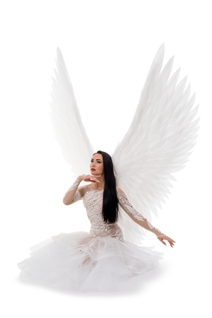 Woman in gorgeous dress and wings on the floor