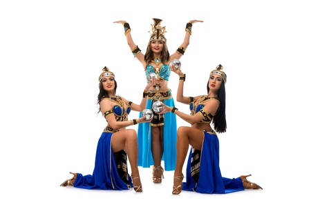 Models in dresses for belly dancing show