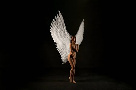 Nude woman with gorgeous wings view in the dark Фото со стока - 128100047