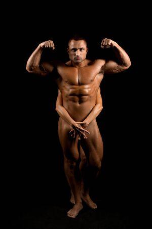 Nackter muskulöser Mann in voller Länge geschossen Standard-Bild