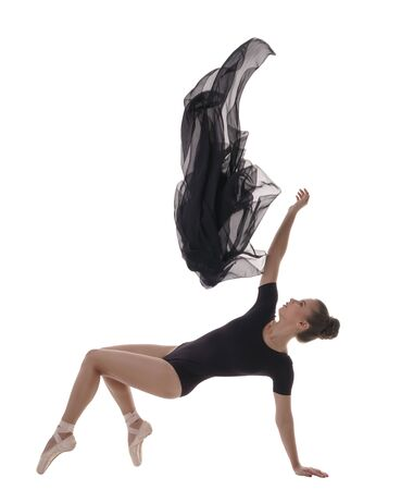 Image of lovely ballerina dancing with cloth Stock Photo