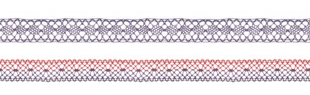 Color lace ribbons isolated view