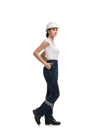 Woman in working clothes isolated profile view