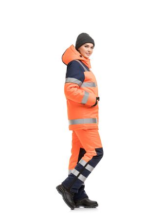 Woman in working clothes and cap isolated view