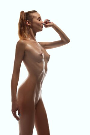Nude beautiful blonde cropped shot 스톡 콘텐츠