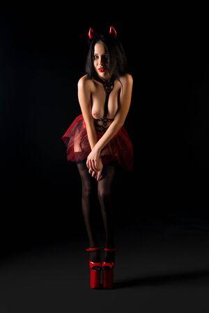 Show girl in sexy lingerie full-length shot