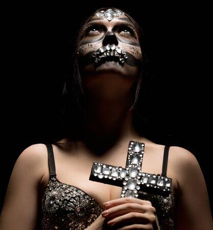 Santa Muerte. Photo de fille glamour avec du maquillage Banque d'images