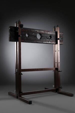 Bdsm furniture view against gray background Standard-Bild