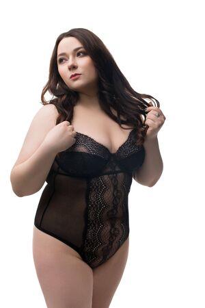 Fat brunette in black silk body isoalted view