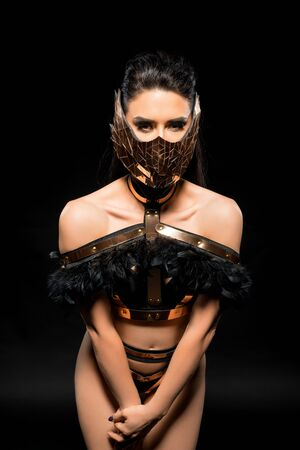 Gorgeous brunette in lace lingerie and mask shot