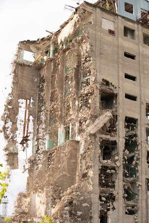 Exterior of broken desolate building
