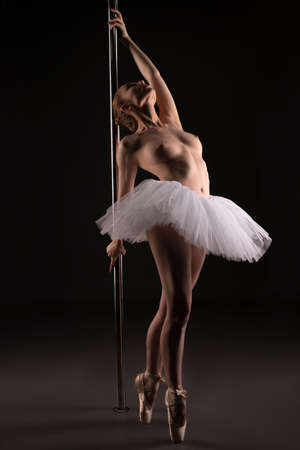 Sexy woman in ballet tutu performing near pole