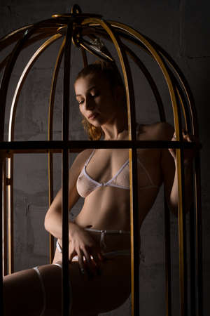 Seductive young woman in transparent lingerie in BDSM cage 版權商用圖片