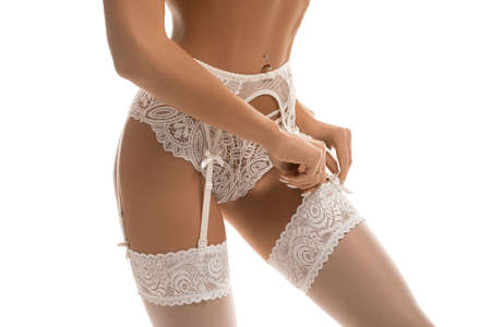 Crop sexy woman in stockings in studio 版權商用圖片