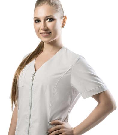 Pretty nurse in white uniform cropped view 版權商用圖片