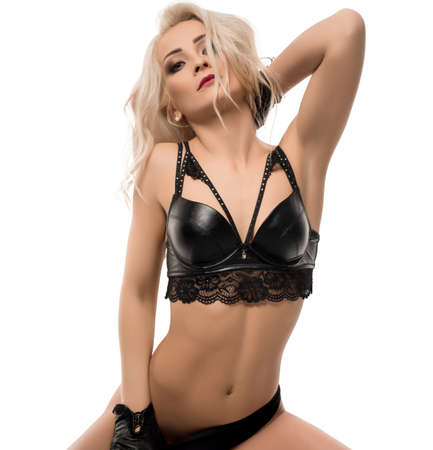 Slim sexy blonde on the floor isolated shot
