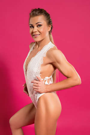 Positive strong female model in white underwear