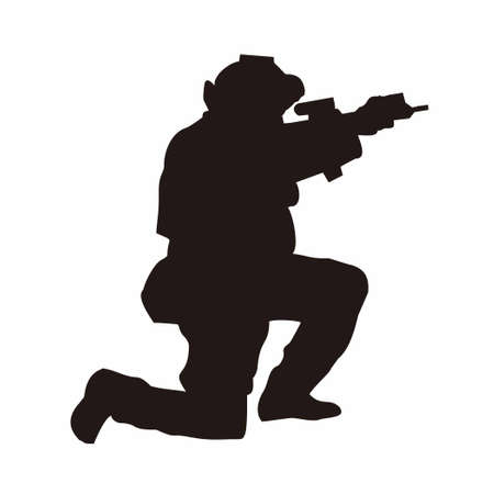 military silhouette pointing weapon on the knee vector design