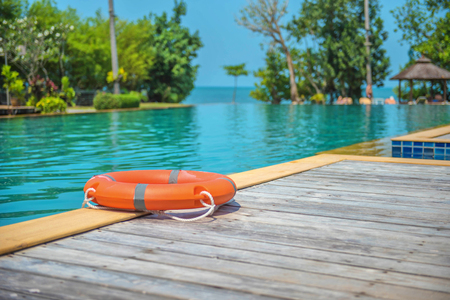 Ring buoy swimming pool. Stock Photo