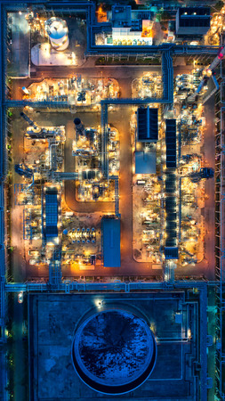 Aerial view and top view Oil refinery at night. Reklamní fotografie