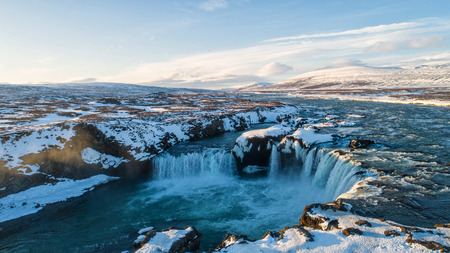 The Godafoss is a waterfall in Iceland. Aerial view and top view. 版權商用圖片