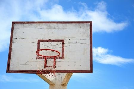 the basketball hoop on blue sky background   photo