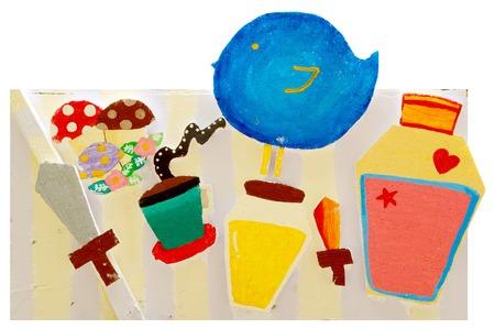 many cartoon image on polystyrene foam