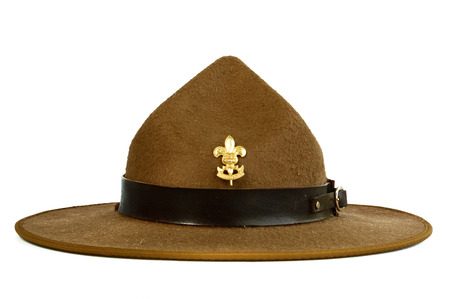 brown leather hat: a brown brim hat (hat of scout) isolated on white background
