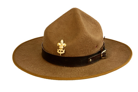 stockman: a brown brim hat  hat of scout  isolated on white background Stock Photo