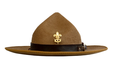 brim: a brown brim hat (hat of scout) isolated on white background